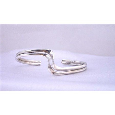 BR074  Sharp Curves Double Layer Wavy Design Gneuine Sterling Silver Cuff Bracelet w/ 92.5 Stamped
