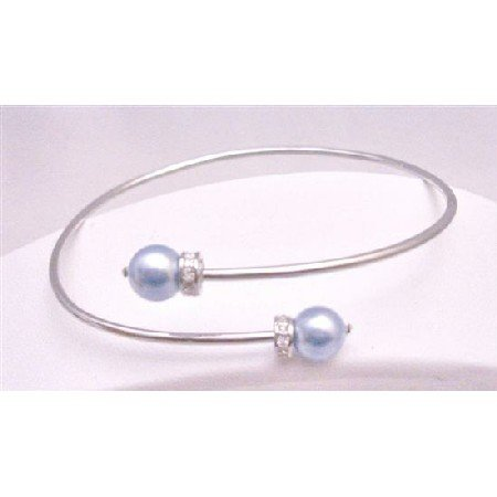 TB767 Bridemaids Jewelry Comforable Cuff Silver Bracelet w/ Lite Blue Pearls Spacer Rondells