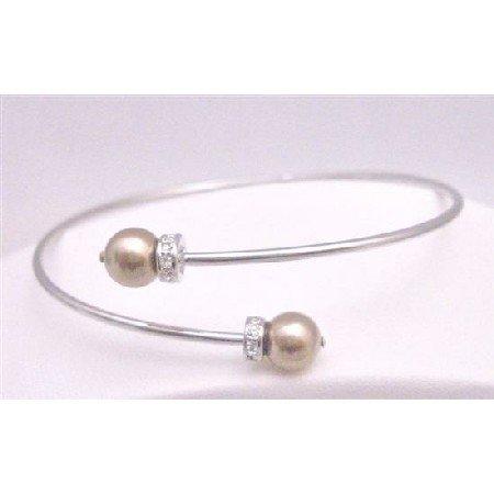 TB774  Prom Bronze Dress Jewelry Flower Girl Cuff Bracelet With Genuine Swarovski Bronze Pearls