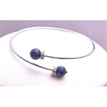 TB763  Prom Jewelry Affordable Inexpensive Dark Night Blue Pearls Cuff Bracelet