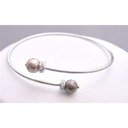 TB772 Cuff Pearls BRacelet Bronze Brown Swarovski Pearls Bracelet w/ Silver Rondells Spacer