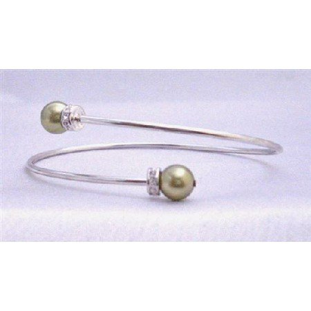 TB766  olivine Pearls Bracelet With Silver Rondells Sparkle Like Diamond Affordable Cuff Bracelet
