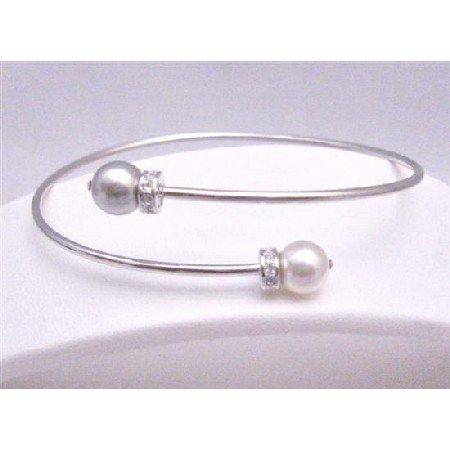 TB759  Affordable Wedding Silver Cuff Bracelet Swarovski White & Grey Pearls