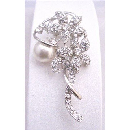 B345  Artistically Embedded Simulated Diamond sparkling Flowers With 10mm White Pearls