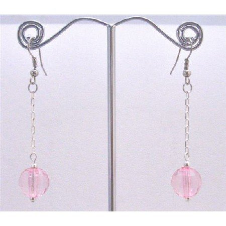 D170  Dainty Pink Earrings Sweet Pink Acrylic Bead Earrings High Quality Dollar Dangling Earrings