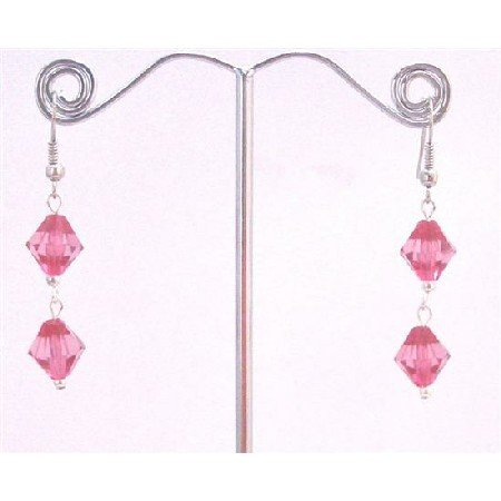 D165  Only A Dollar Earrings Simulated Crystals Bicone Earrings Fuschia Crystals Earrings
