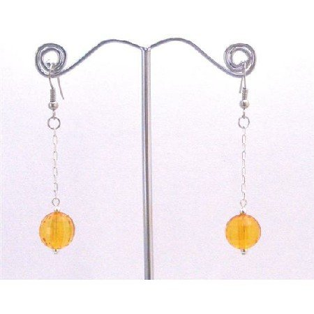 D172  Pumpkin Color Jewelry Dollar Earrings With Dangling Chain Earrings Pumpkin Bead Earrings