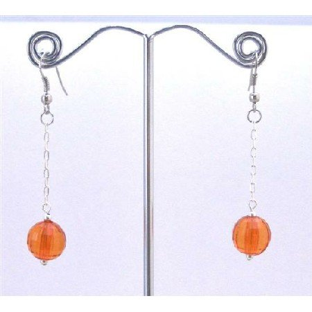 D174  Sexy Orange Dollar Earrings Round Orange Ball Bead With Chain Dangling