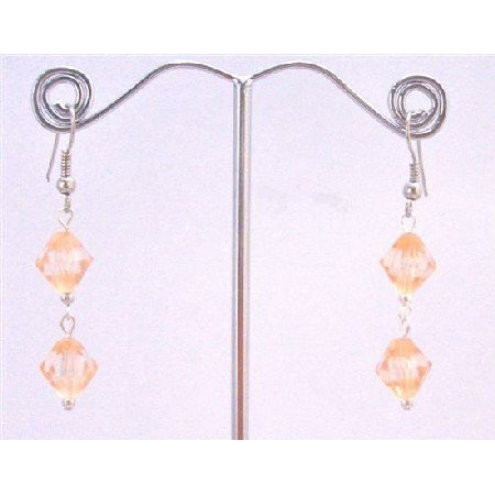 D162  Peach Crystals Earrings Dollare Earrings Simulated Peach Bicone Crystals Earrings