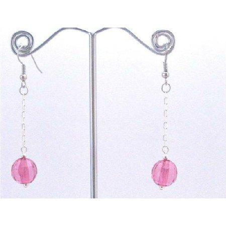 D175  Fuschia Bead Dangling Earrings Good Quality Fuschia Acrylic Bead Earrings