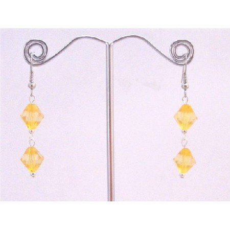 D163  Lovely Yellow Lime Crystals Earrings Dollar Earrings Simulated Crystals Bicone Earrings