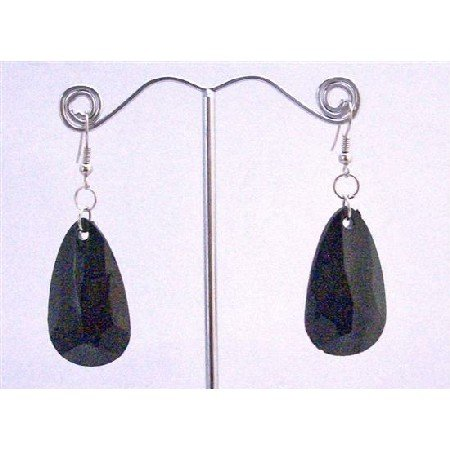 D181  Jet Black Bead Dollar Earrings Incredible Price & Quality Polygan Shaped Bead Earrings