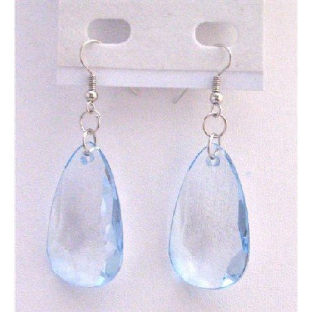 D182  Polygan Jewelry Polygan Bead Earrings Lite Blue Bead Earrings