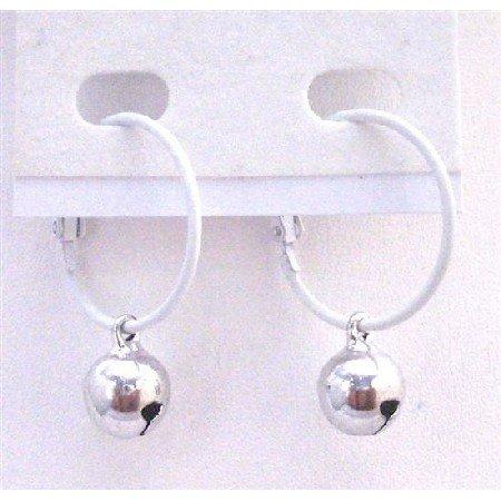 D183  White Hoop Earrings Silver Jingle Bell Dangling Earring Fantastic Quality Just Dollar Earrings