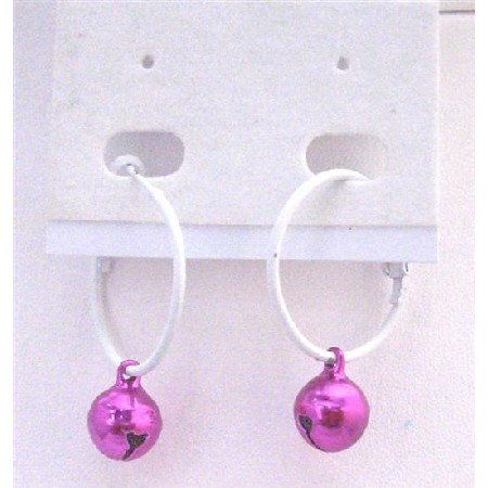 D187  Christmas Affordable Jewlery Jingle Bell Earrings White Hoop With Fuschia Bell Dangling