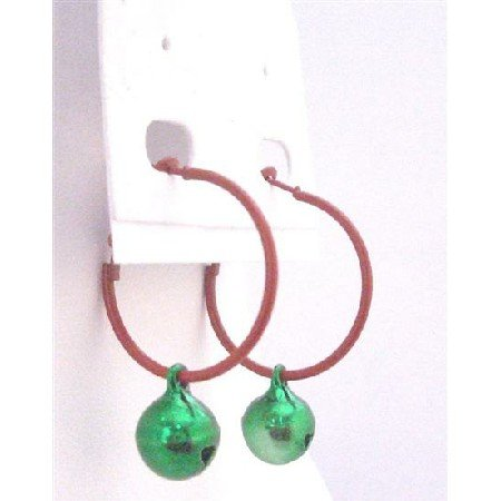 D191  Hoop Earrings With Cute Bell Dangling Absolutely Perfect For Gift Only Dollar