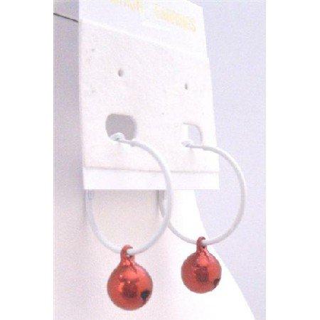 D184 Christmas Jingle Bell Jewelry White Hoop Earrings Red Jingle Bell Dangling Earring