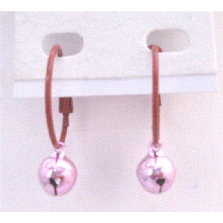 D190  Cute Dollar Earrings Brown Hoop With Pink Bell Dangling Very Cute Affordable
