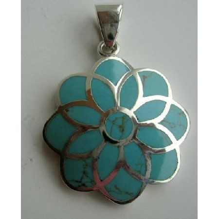 SPEN001  Sterling Silver Turquoise Flower Pendant Weight 14.5 Gm