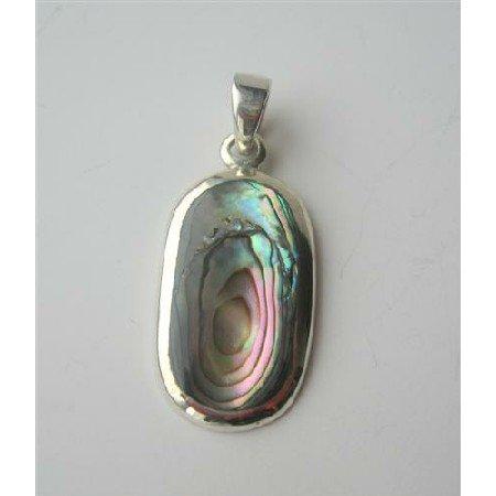 SPEN014  Abalone Shell Oval Sterling Silver Pendant