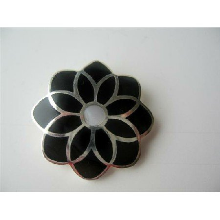 SPEN016  Onyx Inlaid Sterling Silver Onyx Black Flower Pendant