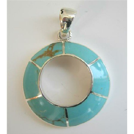 SPEN009  Round Green Turquoise Sterling Silver Round Pendant
