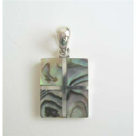 SPEN018  Square Abalone Sterling Silver Pendant Weight 6.5 gm