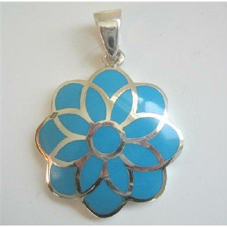SPEN012  Blue Turquoise Flower Sterling Silver Flower Pendant