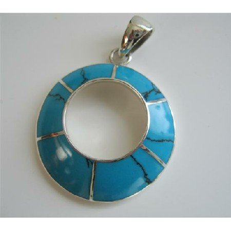 SPEN008  Round Turquoise Blue Turquoise Sterling Silver Round Pendant