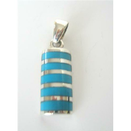 SPEN005  Stylish Sterling Silver Pendant w/ Inlaid Turquoise Genuine Sterling Silver Pendant