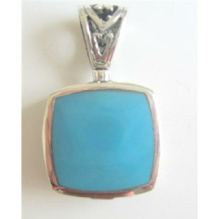 SPEN029  Sterling Silver Sequare Pendant w/ Turquoise Green Pendant Weight 6
