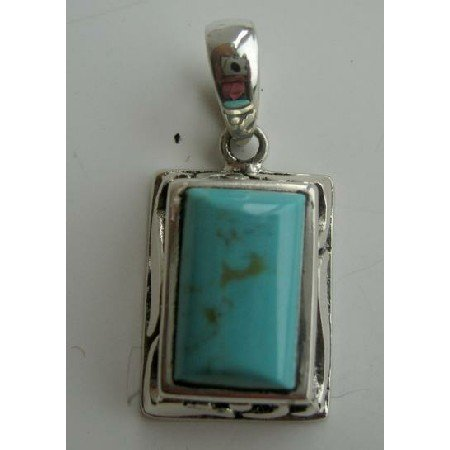 SPEN003  Sterling Silver Turquoise Stone Rectangle Wave Slide/Pendant