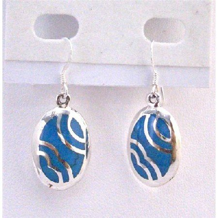 SER066  Fabulous Fashionable Genuine Sterling Silver Affordable Earrings Turquoise Inlaid