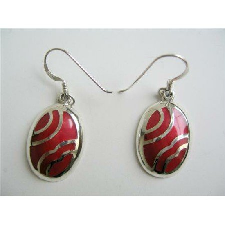 SER043  Funky Stylish Coral Red Stone Inlay Sterling Silver 92.5 Earrings