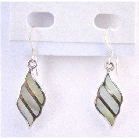 SER076  Mother Of Pearls Lime Sterling Silver Earring Genuine 92.5 Stamped Earrings