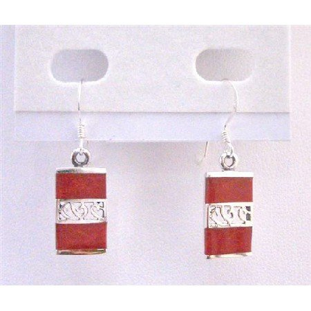 SER073  Red Coral Beautiful Inlay Striking Red Coral Genuine Sterling Silver 92.5 Stamped