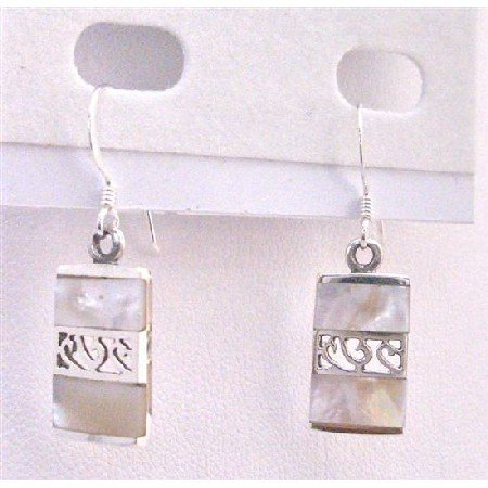 SER075  New Soft Affordable Sterling Silver Earrings w/ Mother Of Pearls Inlaid Earrings