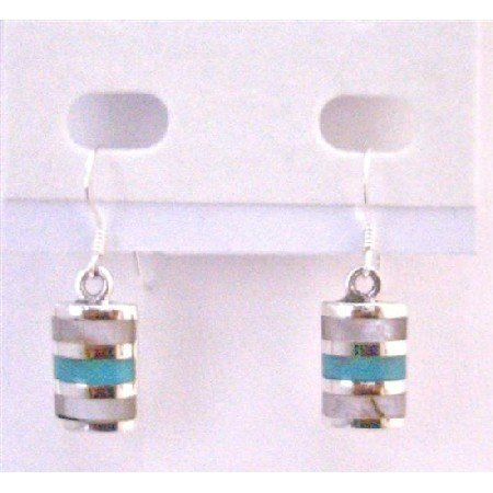 SER080  Affordable Sterling Silver 925 Jewelry Green Turquoise Inlaid Sterling Silver 925 Earrings