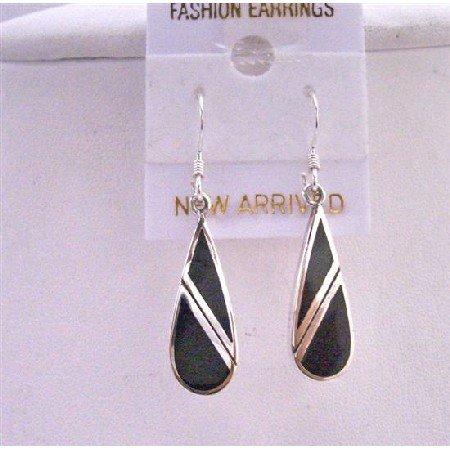 SER052  92.5 Sterling Silver Onyx Earrings