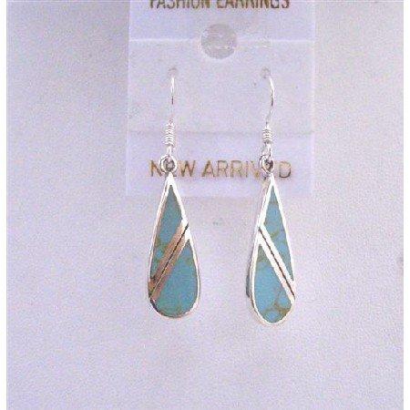 SER053  Turquoise Green Earrings Genuine 92.5 Sterling Silver Onyx Earrings