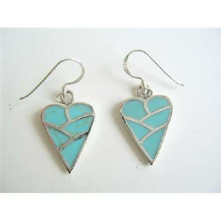 SER048  Adorable Sterling Silver 92.5 Earrings Turquoise Heart Earrings