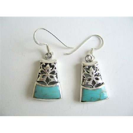 SER049  Oxidized Sterling Silver 92.5 Turquoise Inlaid Earrings