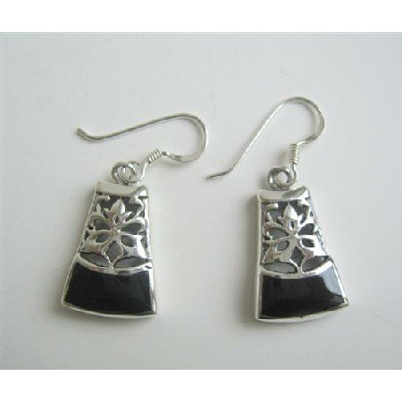 SER042  Onyx Inlaid Genuine Sterling Silver 92.5 Oxidized Earrings