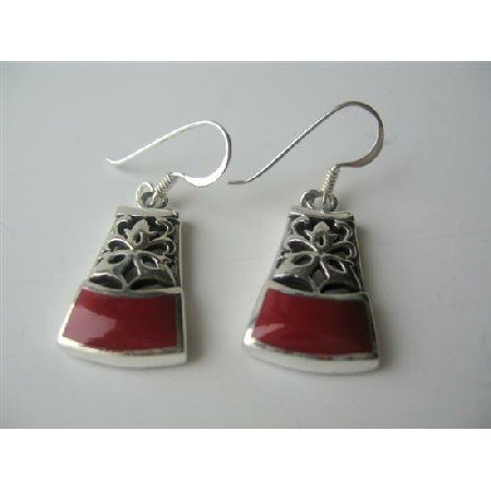 SER035  Ethnic Sterling Silver Coral Inlaid Sterling Silver Earrings