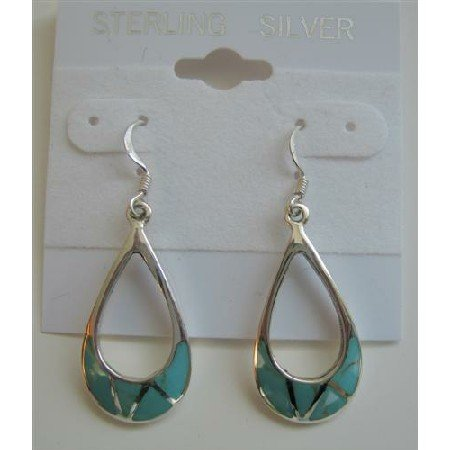 SER020  Sterling Silver 925 Green Turquoise Inlaid Sterling Silver Earrings
