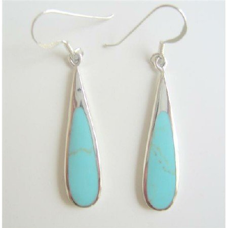 SER059  Silver 92.5 Sterling Inlay Turquoise Earrings