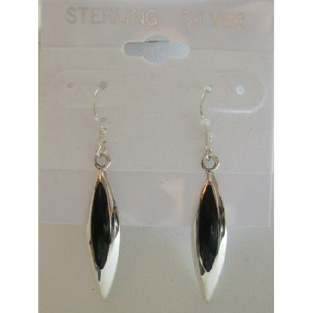 SER022  Inlaid Black Onyx Genuine Sterling Silver Earrings