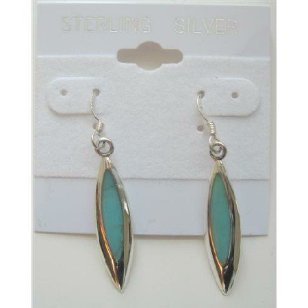 SER023  Sterling Silver 925 Earrings Inlaid Green Turquoise Earrings