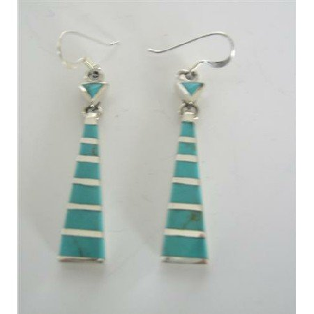 SER014  Green Turquoise Inlaid Sterling Silver Earrings