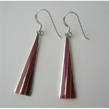 SER037  Cool Sexy Sterling Silver 92.5 Coral Red Earrings Genuine Sterling Silver 925 Earrings